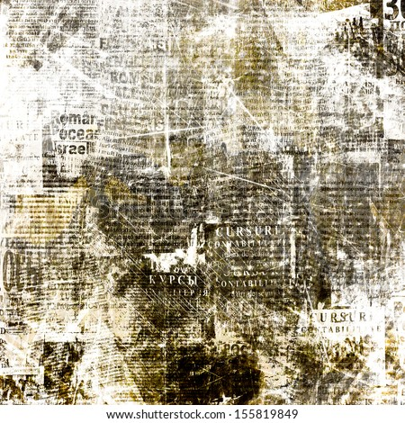 Grunge abstract newspaper background for design with old torn posters - stock photo