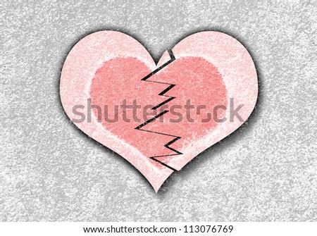 grunge abstract of red broken heart - stock photo