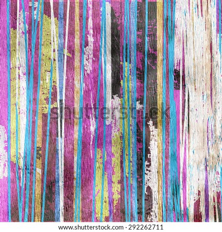 grunge abstract stripes design on wood grain texture - stock photo