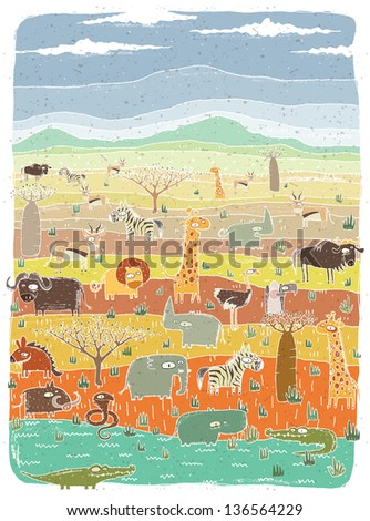 Grunge African Animals on Savannah Background. (for vector see image 114157735) - stock photo