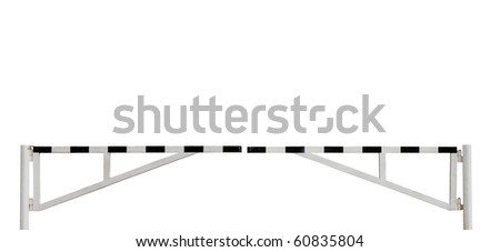 Grunge Aged Weathered Roadblock Road Barrier Gate, Isolated - stock photo