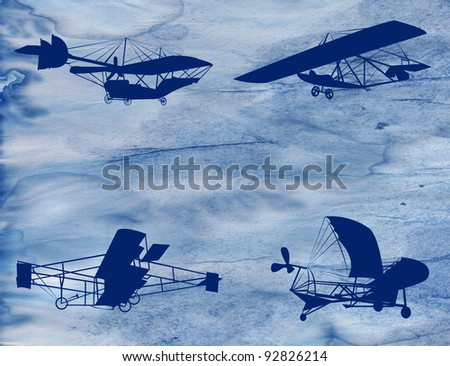 Grunge aircraft, abstract background graphic - stock photo