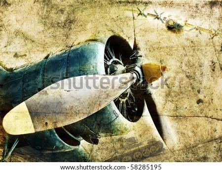 Grunge aircraft engine - stock photo