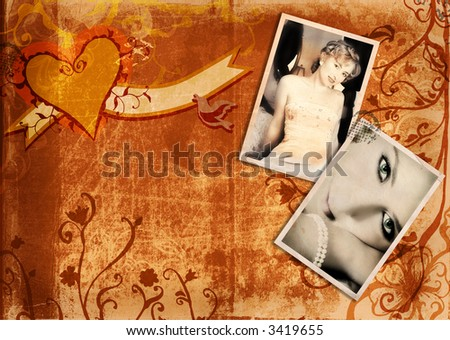Grunge album page on rich texture with swirls and scrolls, two vintage photos of  blond bride - stock photo