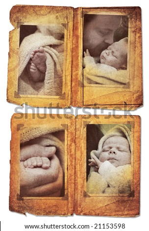Grunge album pages with photo frames with pics of little baby boy and his father - stock photo