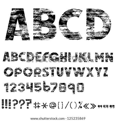 Grunge alphabet letters, numbers and punctuation marks.Raster version - stock photo