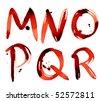 Grunge alphabet M-R - stock photo