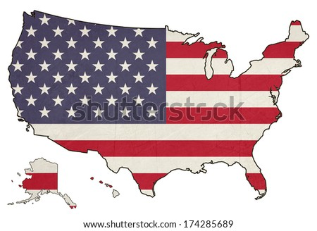 Grunge America flag map isolated on a white background, U.S.A.