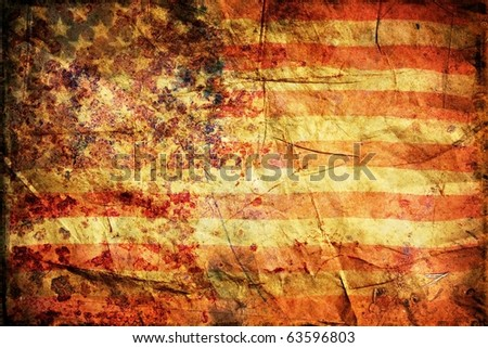 Grunge American Flag Background - stock photo