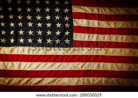 Grunge American flag, close-up.