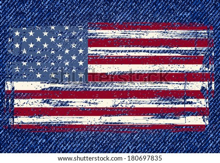 Grunge American flag on jeans background. Raster version - stock photo