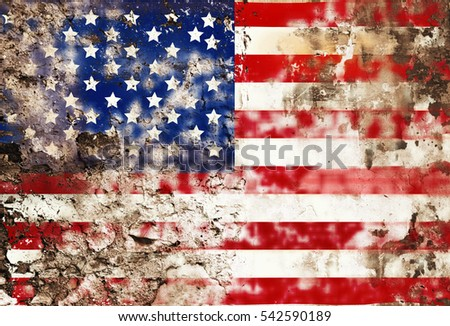 grunge american flag, stars and stripes
