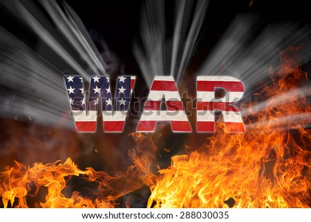 Grunge American flag, war concept with fire flames, close-up. - stock photo