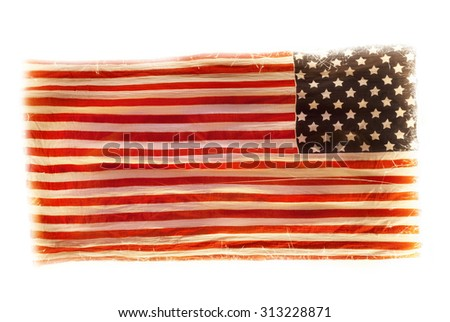 grunge American national flag isolated on white background - stock photo