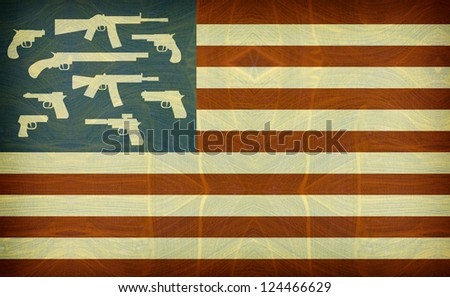 grunge and aged american flag with guns - stock photo