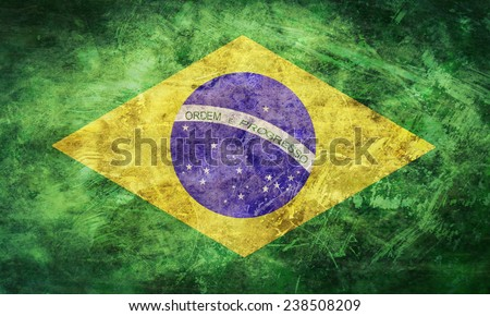 Grunge and dirty of Brazil flag,vintage retro - stock photo