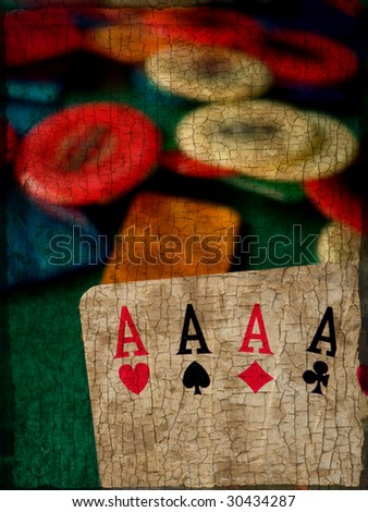Grunge and dirty shot of four aces cards with poker chips in the background
