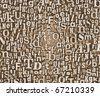 Grunge and gritty background texture made of old printed letters. - stock photo