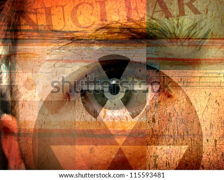 grunge and worn composite photo design of human eye with nuclear and radiation symbols