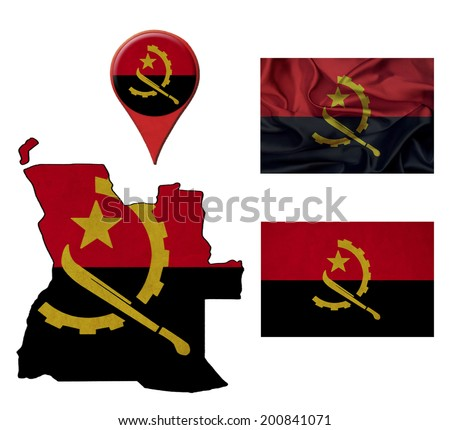 grunge Angola flag, map and map pointers