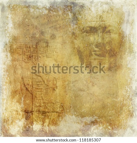 Grunge Antique Egypt Wallpaper With Pharaoh And Hieroglyphics