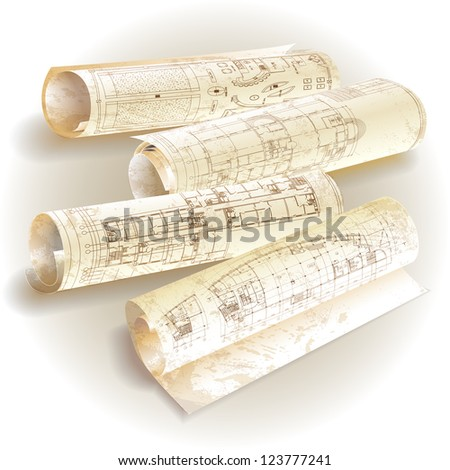 Grunge architectural background with rolls of drawings. Raster version. - stock photo