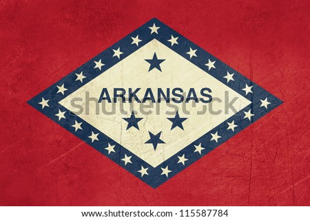 Grunge Arkansas state flag of America, isolated on white background.