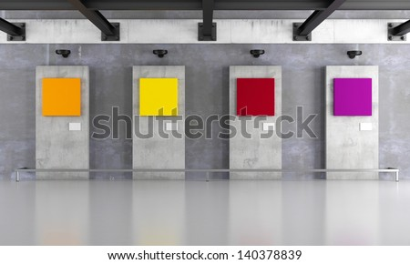 Grunge art gallery with colorful canvas on concrete panel - rendering - stock photo