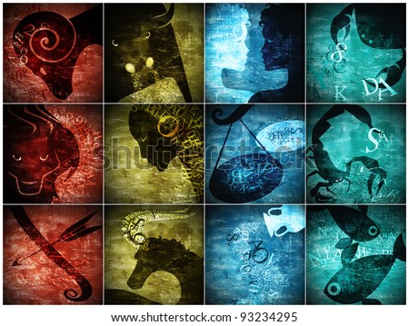 grunge art zodiac sign - stock photo