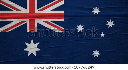 Grunge Australian flag, image is overlaying a detailed grungy texture - stock photo