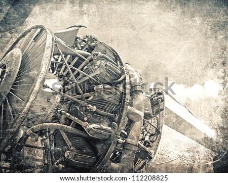 Grunge aviation background, old airplane engine close up - stock photo