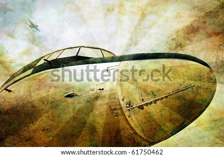 Grunge aviation background, old military plane, dirty scratched background - stock photo