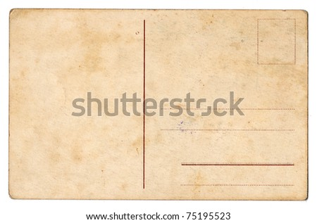 Grunge backdrop of old postcard - stock photo