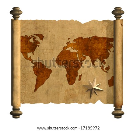Grunge background - ancient map of the world. Object over white