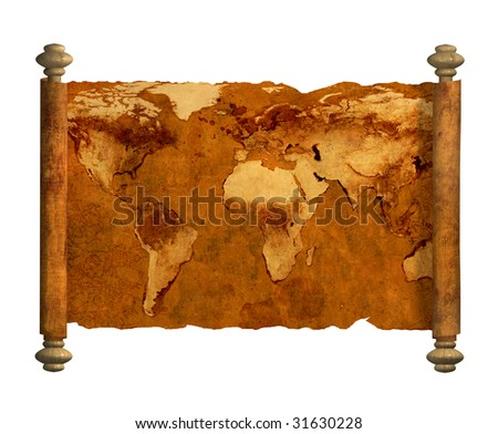Grunge background - ancient map of the world. Object over white - stock photo
