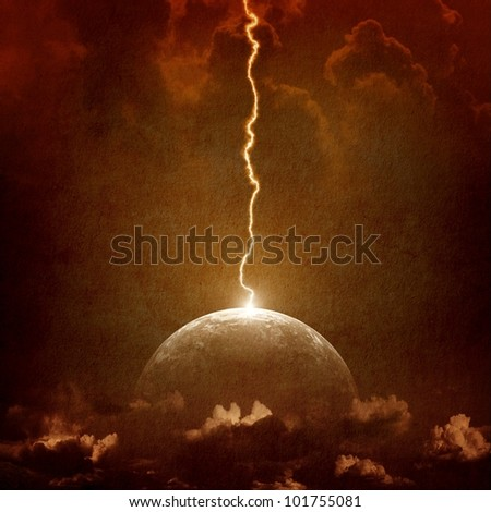 Grunge background - big lightning hit planet Earth in dark dramatic sky - stock photo