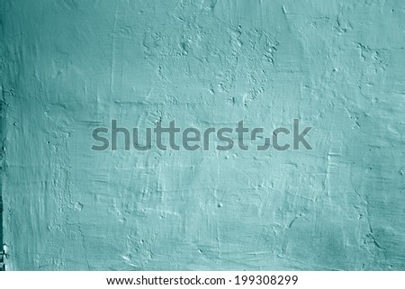Grunge background blue wall whitewash lime plaster, abstract soft background - stock photo