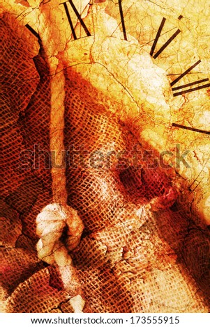 grunge background composing of a rope with knot, a clock face and hessian