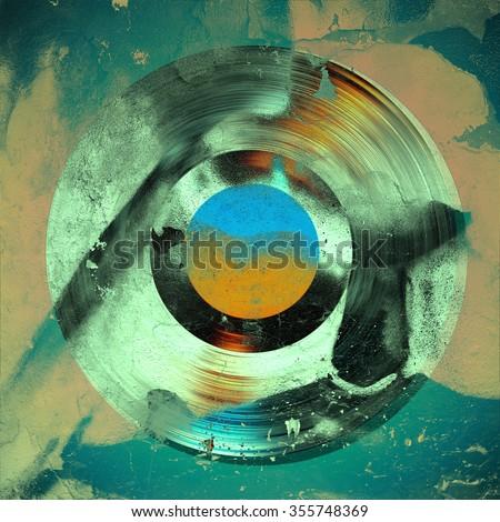 grunge background gramophone record - stock photo