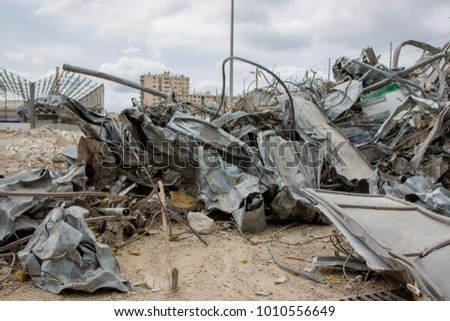 Grunge Background Metals Recycling / Demolition site metal debris