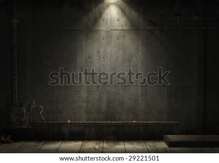 grunge background of an interior industrial scene with copy space - stock photo
