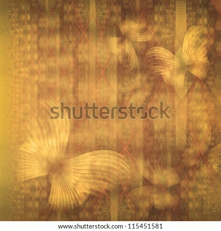 Grunge background of butterflies against faded wallpaper in retro style - stock photo