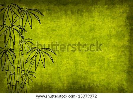 Grunge background of green color with bamboo