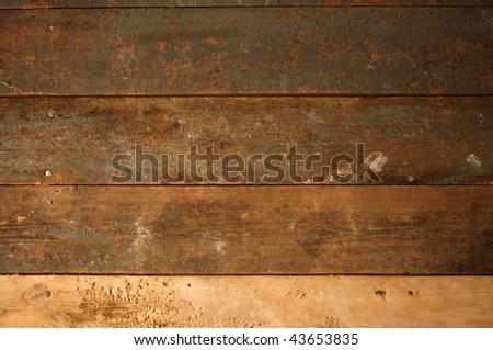 Grunge background of old, worn wood slats - stock photo