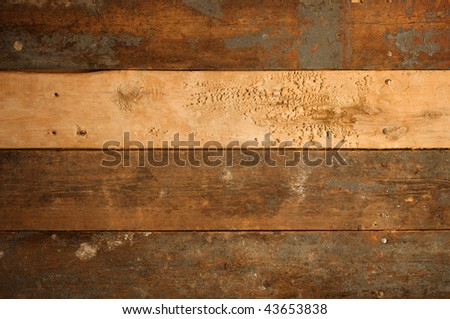 Grunge background of old, worn wood slats