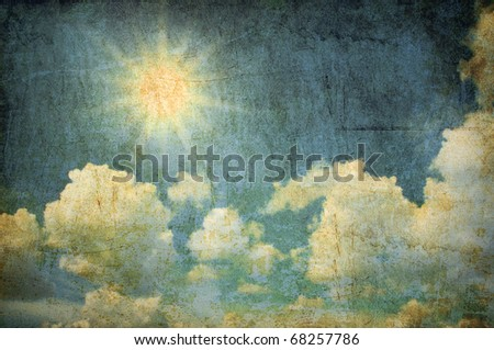 Grunge background of  sun and cloud in the sky - stock photo