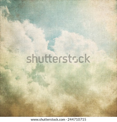 grunge background old canvas paper texture white clouds on blue sky abstract scenery vintage painting - stock photo