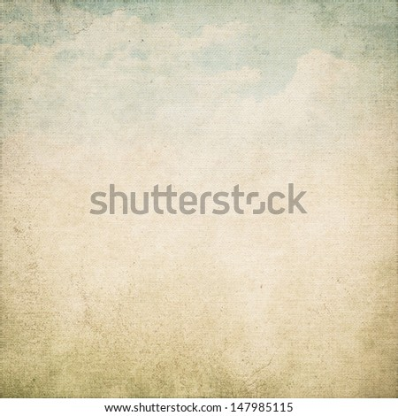 grunge background old canvas texture and dirty blue sky and white clouds view painting - stock photo