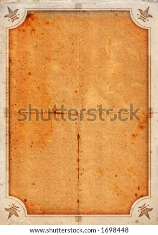 Grunge background on a detailed paper texture 02 - clean version with ornaments - stock photo