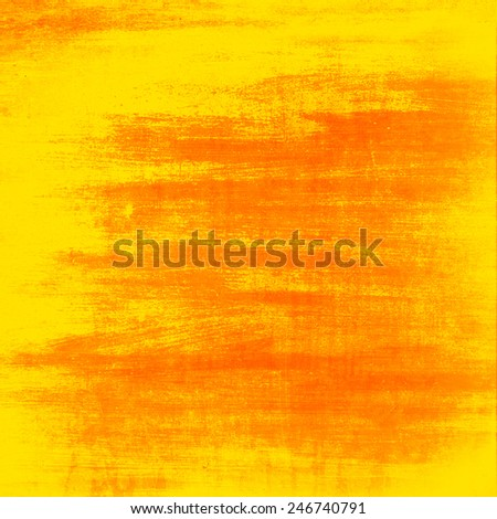 grunge background, orange and yellow painted wall texture - stock photo